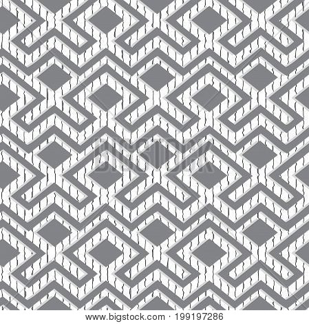 Maze tangled lines contemporary graphic. Abstract geometric background design. Grey and white