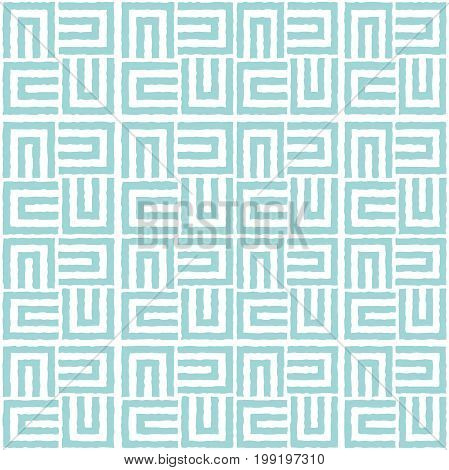 Repeating geometric stripes squares. Blue and white