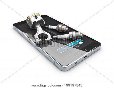 3D Illustration Of Engine Piston And Spark Plugs On The Screen Of Phone, Isolated White