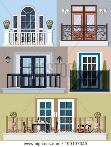 Bright colorful collection of different types balconies and loggias. Modern, vintage and classic style with building facade elements, flowers and lanterns. Flat style vector illustration.