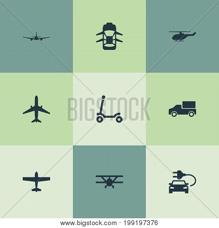 Elements Plane, Aerocab, Airliner And Other Synonyms Transport, Airplane And Flight.  Vector Illustration Set Of Simple Transport Icons.