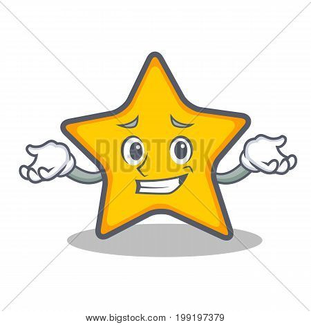 Grinning star character cartoon style vector illustration