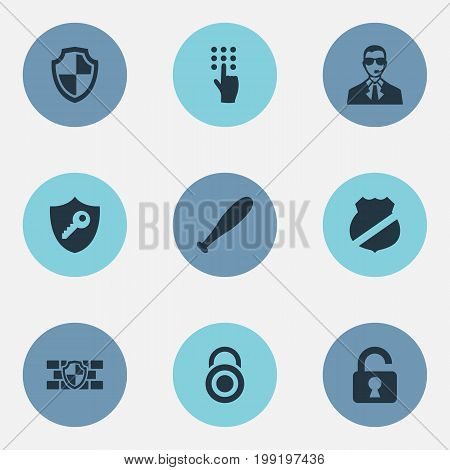 Elements Under Protection, Shield, Padlock And Other Synonyms Stick, Agent And Padlock.  Vector Illustration Set Of Simple Security Icons.