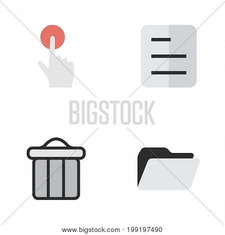 Elements Trashcan, Document, File And Other Synonyms Trash, Button And Junk.  Vector Illustration Set Of Simple Interface Icons.