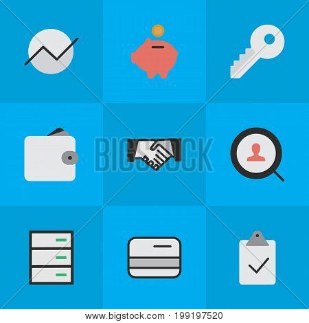 Elements Purse, Agreement, Pay And Other Synonyms Mark, Pay And Handshake.  Vector Illustration Set Of Simple Trade Icons.