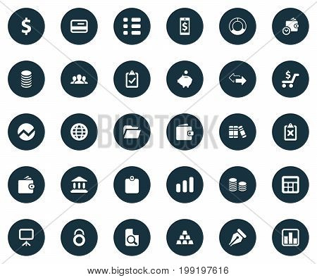 Elements Supervision List, Authentication, Growing Sales And Other Synonyms Discount, Bullion And Whiteboard.  Vector Illustration Set Of Simple Finance Icons.