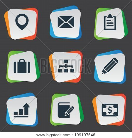 Elements Growth, Pen, Bill And Other Synonyms Income, Pen And Message.  Vector Illustration Set Of Simple Company Icons.
