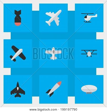 Elements Airplane, Aviation, Plane And Other Synonyms Aircraft, Chopper And Copter.  Vector Illustration Set Of Simple Plane Icons.