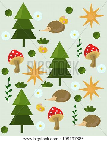 Pine tree mushrooms Forrest background Vector illustration