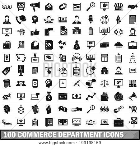 100 commerce department icons set in simple style for any design vector illustration