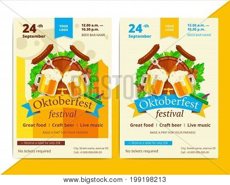 Oktoberfest Vector Poster Background Design. Octoberfest Holiday Banner Layout. Party Or Event Flyer