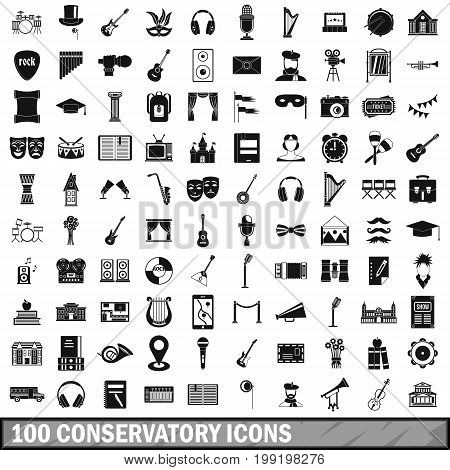 100 conservatory icons set in simple style for any design vector illustration