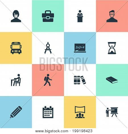 Elements Handbag , Chalk, Student Synonyms Event, Lesson And Blackboard.  Vector Illustration Set Of Simple Education Icons.