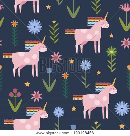 Vector seamless pattern with cute unicorn in flat style. Unicorn with rainbow mane and tail with flowers for infant design.