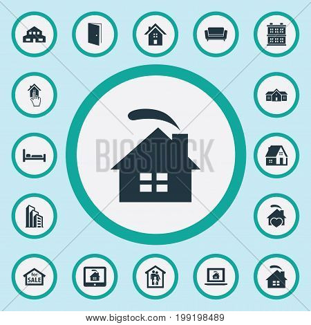 Elements Online Property, Home, Residence And Other Synonyms Construction, Advertisement And Furniture.  Vector Illustration Set Of Simple Real Icons.