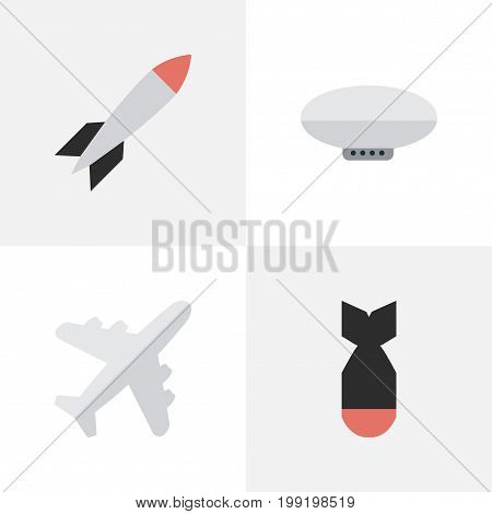 Elements Rocket, Bomb, Balloons And Other Synonyms Plane, Craft And Bomb.  Vector Illustration Set Of Simple Plane Icons.