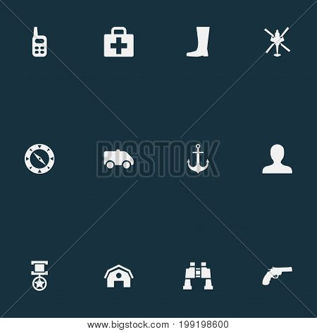 Elements Revolver, Avatar, Emergency And Other Synonyms Handgun, Emergency And Compass.  Vector Illustration Set Of Simple Army Icons.