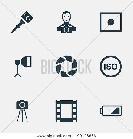 Elements Film Strip, Camcorder, Energy And Other Synonyms Camcorder, Strip And Light.  Vector Illustration Set Of Simple Photograph Icons.