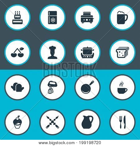 Elements Delicious Fruits, Stir, Stew-Pot And Other Synonyms Pub, Bbq And Toaster.  Vector Illustration Set Of Simple Gastronomy Icons.