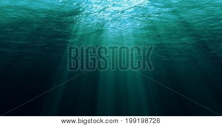 Deep Blue Caribbean Ocean Waves From Underwater Background