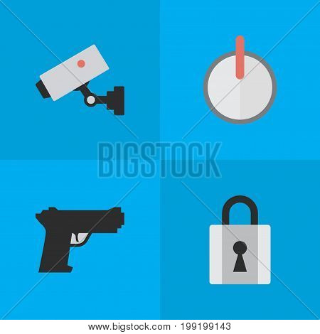 Elements Weapon, Safe, Closed And Other Synonyms Password, Padlock And Weapon.  Vector Illustration Set Of Simple Crime Icons.