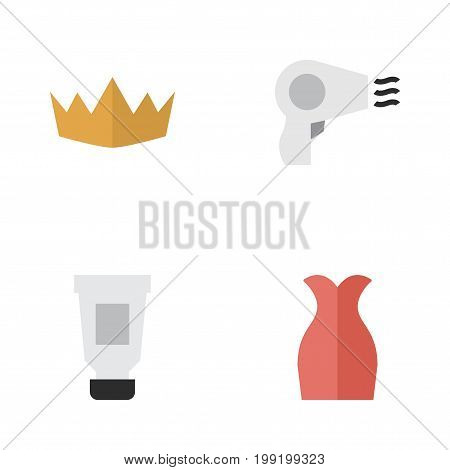 Elements Blow-Dryer, Crown, Toothpaste And Other Synonyms Crown, Machine And Cream.  Vector Illustration Set Of Simple Fashion Icons.