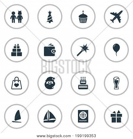 Elements Spell, Father Frost, New Year Symbol And Other Synonyms Santa, Beer And Mug.  Vector Illustration Set Of Simple Festal Icons.