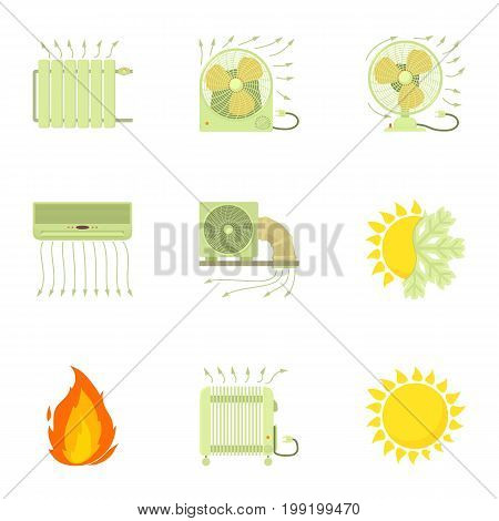 Heating icons set. Cartoon set of 9 heating vector icons for web isolated on white background