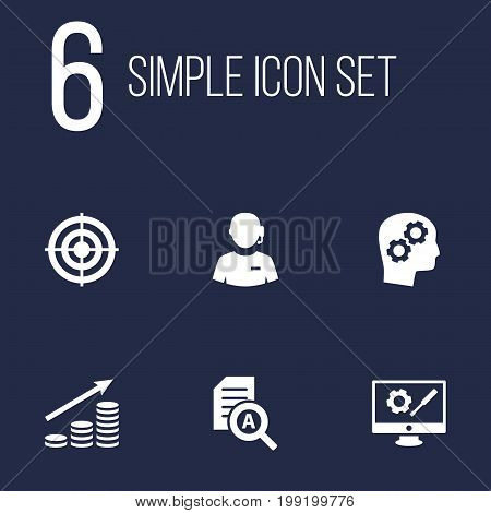 Collection Of Money Growth, Goal, Call Center And Other Elements.  Set Of 6 Startup Icons Set.