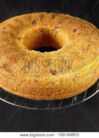 A basic sponge cake. A cake is prepared to be decorated on a dark background