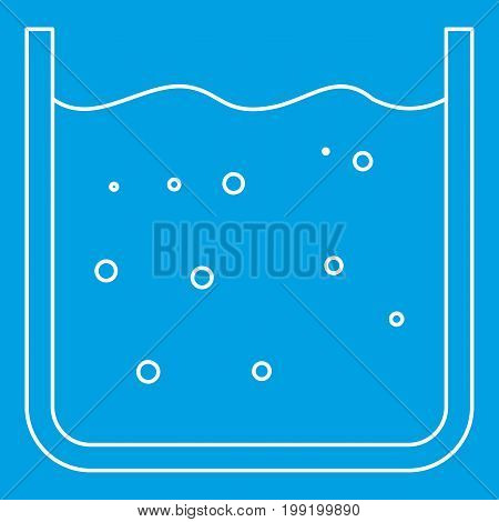 Glassware with liquid icon blue outline style isolated vector illustration. Thin line sign