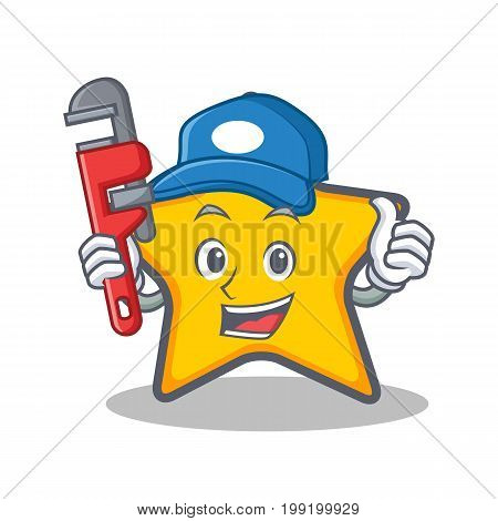 Plumber star character cartoon style vector illustration