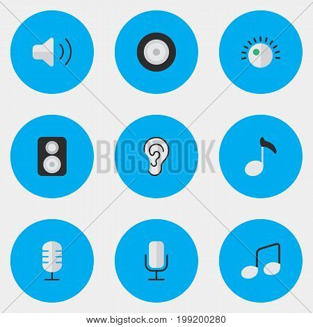 Elements Loudness, Record, Loudspeaker And Other Synonyms Loudspeaker, Volume And Sign.  Vector Illustration Set Of Simple  Icons.