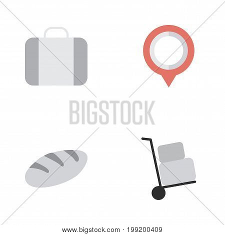 Elements Cargo, Bag, Bakery And Other Synonyms Suitcase, Cargo And Location.  Vector Illustration Set Of Simple Travel Icons.