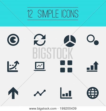 Elements Circle Diagram, Line Chart, Refresh And Other Synonyms Coordinate, Figure And Global.  Vector Illustration Set Of Simple Diagram Icons.
