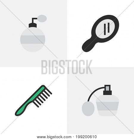 Elements Glass, Hairbrush, Fragrance And Other Synonyms Glass, Tool And Speculum.  Vector Illustration Set Of Simple Barber Icons.