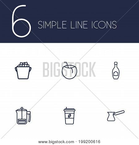 Collection Of Coconut, Champagne, Ice Bucket And Other Elements.  Set Of 6 Beverages Outline Icons Set.