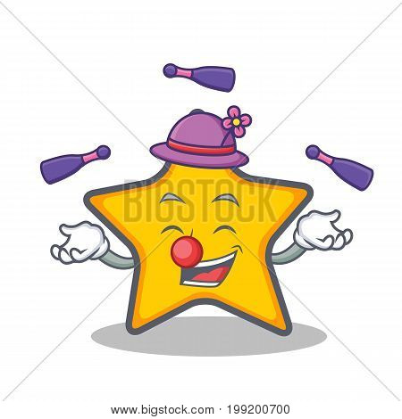 Juggling star character cartoon style vector art