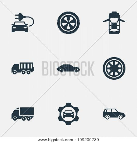 Elements Carriage, Car Charging, Duplicates And Other Synonyms Nut, Lattice And Circle.  Vector Illustration Set Of Simple Auto Icons.