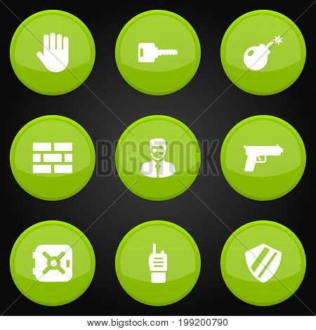 Collection Of Security Man , Protection , Hand Elements.  Set Of 9 Procuring Icons Set.