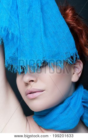 Beautiful Woman Model Posing With Her Scarf