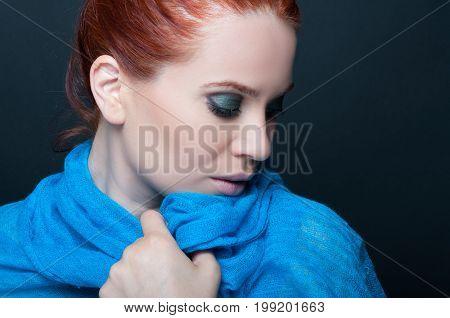 Pretty Female Model With Blue Scarf