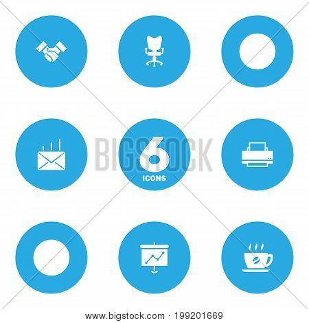 Collection Of Office Chair, Coffee, Handshake Elements.  Set Of 6 Work Icons Set.