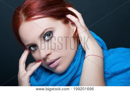 Beauty Female Model With Long Scarf