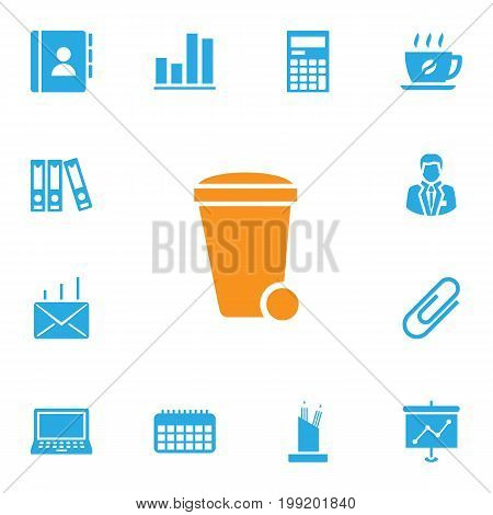 Collection Of Clip, Manager, Coffee And Other Elements.  Set Of 13 Cabinet Icons Set.