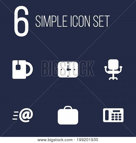 Collection Of Airchair, Time, Cup And Other Elements.  Set Of 6 Office Icons Set.
