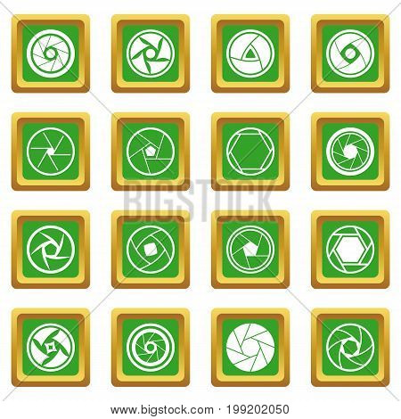 Photo diaphragm set. Simple illustration of 16 photo diaphragm vector icons set in green color isolated vector illustration for web and any design