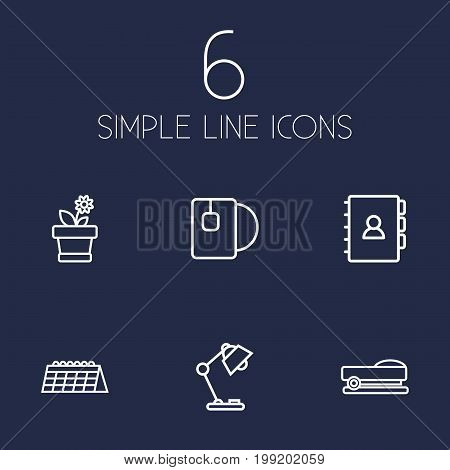 Collection Of Calendar, Table Lamp, Staple And Other Elements.  Set Of 6 Office Outline Icons Set.