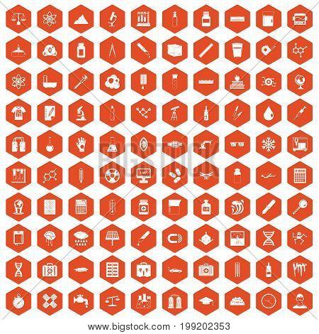 100 laboratory icons set in orange hexagon isolated vector illustration