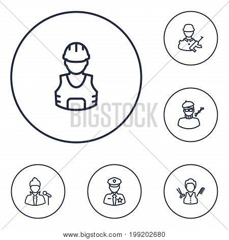 Collection Of Soldier, Barber, Designer And Other Elements.  Set Of 6 Job Outline Icons Set.